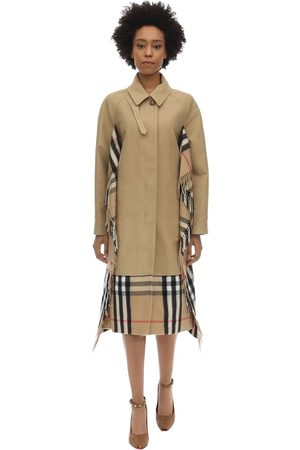 Burberry Cotton Canvas Trench Coat W/check Scarf