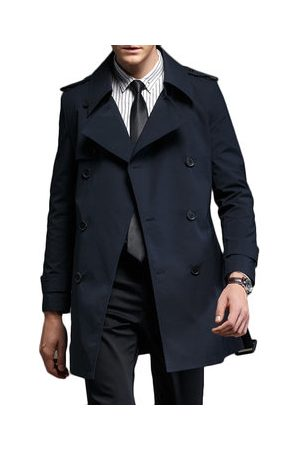 Newchic Men Trench Coats - High Quality Mid Long Trench Coat