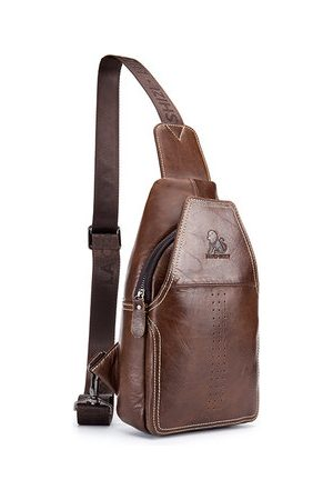 Newchic Men Laptop Bags - Genuine Leather Business Crossbody Bag Chest Bag
