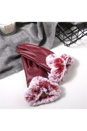 Newchic Women Gloves - Warm Thick Rabbit Fur PU Leather Texting Screen Gloves