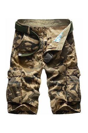 Newchic Mens Casual Cotton Blend Large Size Multi-pocket Military Camouflage Cargo Shorts
