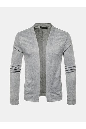 Newchic Men Long Sleeve - Mens Solid Long-sleeved Knit Cardigan