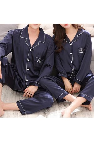 Newchic Lovers Silk Pajamas Long-sleeved Trousers Sleepwear Suit