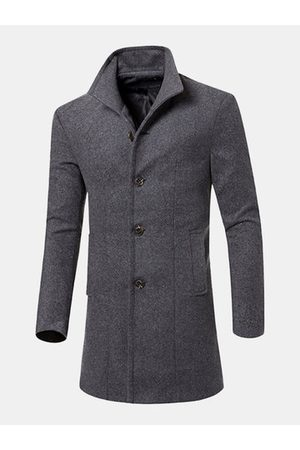 Newchic Mens Business Woolen Slim Fit Trench Coat