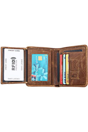 Newchic Antimagnetic Vintage Genuine Leather Tri-fold Wallet