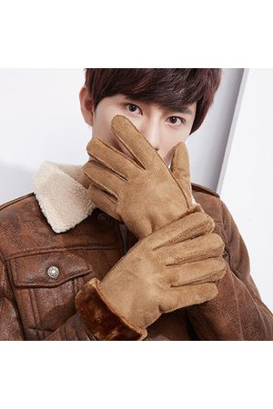 Newchic Men Gloves - Outdoor Windproof Suede Plush Inside Gloves For Mens