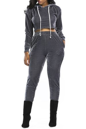 Newchic Hooded Crop Top With Pants Women Suits