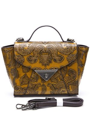 Newchic Brenice Genuine Leather Embossed Clasp Messenger Bag