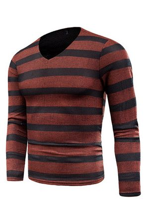 Newchic Breathable Stripes Casual Knitted T-shirt