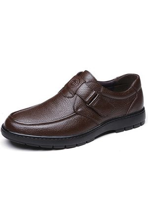 Newchic Men Casual Shoes - Men Comfy Soft Hook-loop Business Casual Leather Shoes