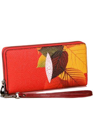 Newchic Maple Leaves Leather Wallet