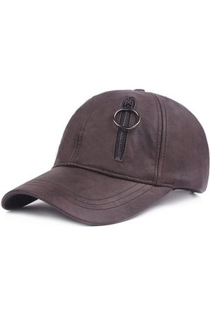 Newchic Mens Solid PU Leather Baseball Hat