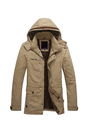 Newchic Mens Winter Detachable Hood Jackets