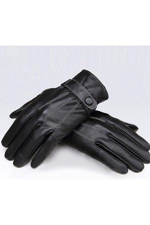 Newchic Black Windproof PU Leather Men's Cycling Drive Covered Button Gloves