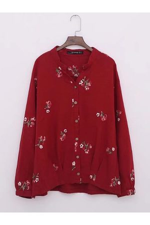 Newchic Casual Embroidery Long Sleeve V-Neck Shirt