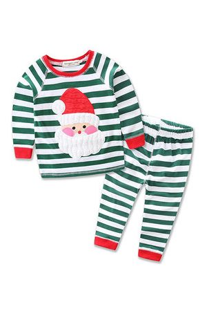 Newchic Baby Santa Claus Striped Clothing Set