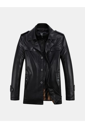 Newchic Men Trench Coats - Thick Velvet PU Leather Trench Coat