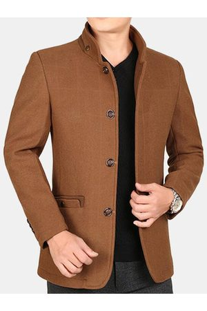 Newchic Men Winter Jackets - Winter Mid Long Thicken Woolen Jacket