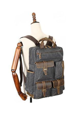 Newchic Men Rucksacks - Large Capacity Genuine Leather Canvas Outdoor Backpack