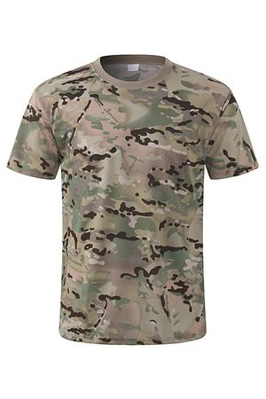Newchic Mens Outdoor Quick-drying Breathable Mesh T-shirt Camouflage Military Training Tops