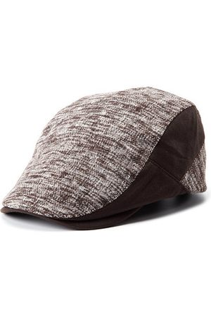 Newchic Men's Leather Eaves Knit Beret Hats Winter Warm Peaked Cap