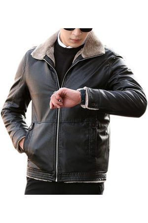 Newchic Men Leather Jackets - Fleece PU Leather Jackets