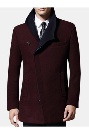 Newchic Mens Thick Woolen Trench Coat
