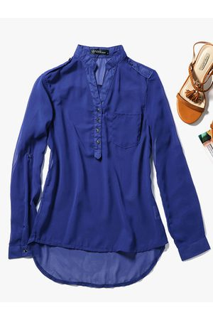 Newchic Women Chiffon V-Neck Long Sleeve Shirt