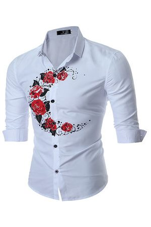 Newchic British Style Rose Printing Band Collar Designer Shirts for Men