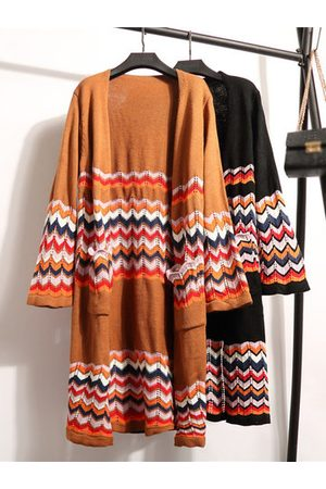 Newchic Women Cardigans - Ethnic Printed Mid-Long Knitted Cardigans