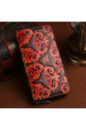 Newchic Women Genuine Cowhide Leather Brush Color Retro Long Wallet