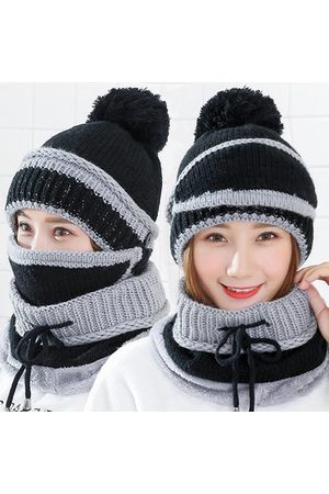 Newchic Women Outdoor Ski Warm Knit Hat Masks Scarf Set