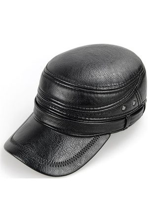 Newchic Mens PU With Earflaps Flat Top Caps