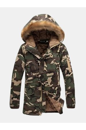 Newchic Thicken Camo Furry Hood Padded Jacket