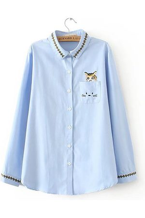 Newchic Casual Embroidery Long Sleeve Lapel Shirt