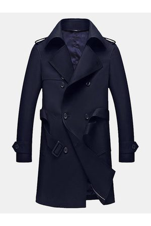 Newchic Mens Business Casual Double-breasted Trench Coat