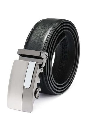 Newchic 120cm Male Cowhide Leather Automatic Buckle Black Business Belt