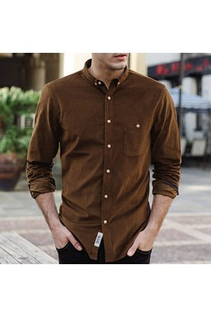 Newchic Fall Corduroy Slim Fit Button Up Casual Shirt