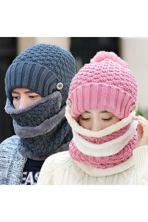 Newchic Warmer Knitted Face Hat And Neck Collar Set