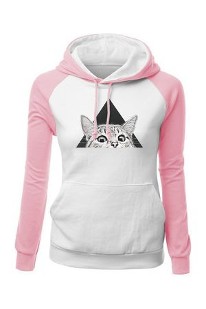 Newchic Cats Printed Contrast Color Sweatshirts