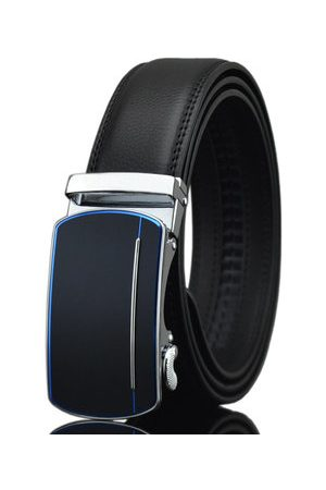 Newchic Men Belts - 125-130CM Men Business Second Layer Leather Belt Casual Automatic Buckle Leather Waistband Straps