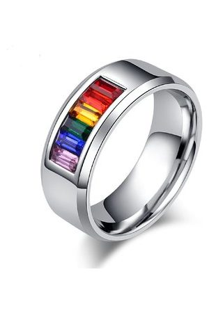 Newchic 8mm Rainbow Stainless Steel Ring