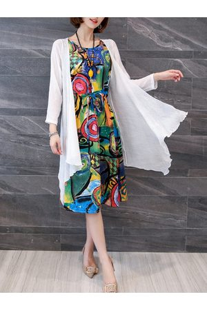 Newchic Casual Women Sleeveless Printed Dresses Two-piece Outfits