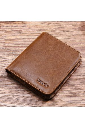 Newchic Men Wallets - Genuine Leather Vintage Wallet Men Oil Wax Short Wallets