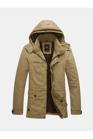 Newchic Winter Outdoor Thicken Multi Pockets Solid Color Detachable Hood Jacket for Men