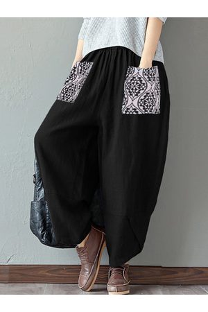 Newchic Vintage Printed Pockets Pants