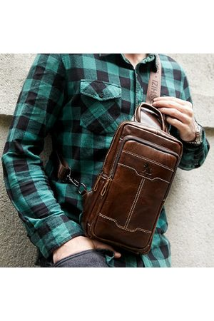 Newchic Men Laptop Bags - Retro Genuine Leather Sling Bag Business Chest Bag