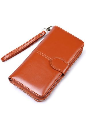 Newchic Vintage Oil-wax PU Leather Long Wallet