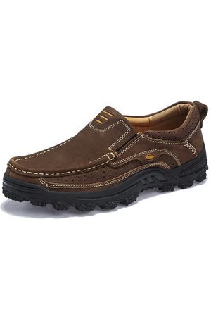 Newchic Men Genuine Leather Slip Resistant Outdoor Casual Shoes