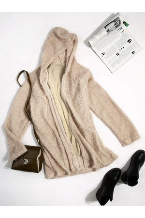 Newchic Casual Women Solid Color Hooded Fleece Coats